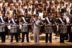 Drum Major Tony Pandolfe conducts the UCMB during a Hartford Symphony Orchestra concert at The Bushnell.